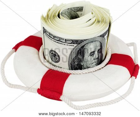 Life ring surroung money - concept of saving momey or emergency fund