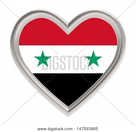 Syrian flag in silver heart isolated on white background. 3D illustration.