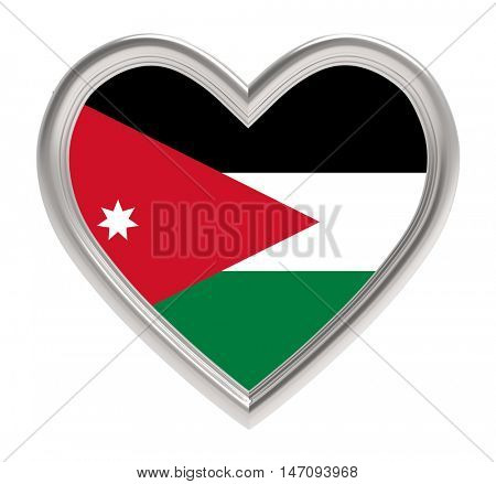 Jordanian flag in silver heart isolated on white background. 3D illustration.