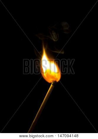 Bright Flash Sulfur Match On A Dark Background. Beautiful Fire Close-up.
