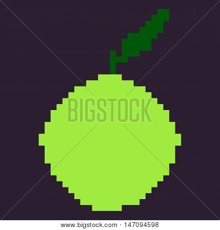 Vector Single Oldschool Pixel Fruit Illustration. Pixel Green Apple.