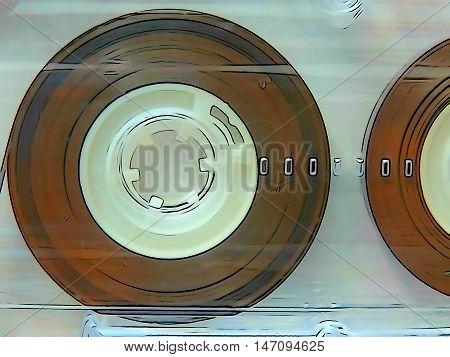 Audio cassettes for recorder 80s 90s 70s retro vintage old music Illustration