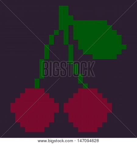 Vector Single Oldschool Pixel Fruit Illustration. Pixel Red Cherries With Leaf.