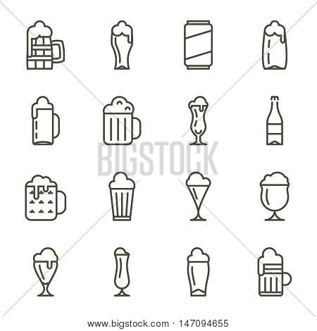Vector beer glassware thin line icons. Set of beer beverage in glassware, illustration alcohol beer