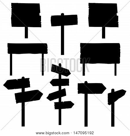 Vector Set Of Signposts Silhouettes