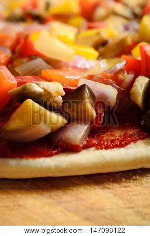 Pre-baked Vegetable Pizza Close Up