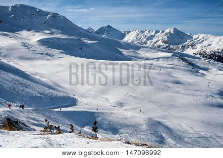 The ski slopes in the Swiss Alps 4 valleys