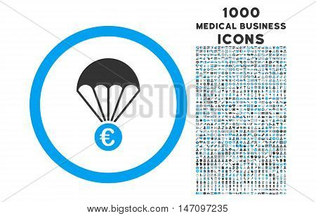 Euro Parachute rounded glyph bicolor icon with 1000 medical business icons. Set style is flat pictograms, blue and gray colors, white background.