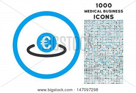 Euro Placement rounded glyph bicolor icon with 1000 medical business icons. Set style is flat pictograms, blue and gray colors, white background.