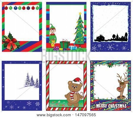A set of colorful Christmas and holiday graphic elements for gift tags, greetings, invitations, scrap-booking, including a cute reindeer, an elf, a bear and various Christmas designs.