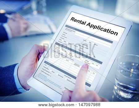 Rental Application Leasable Borrow Apply Rent Concept