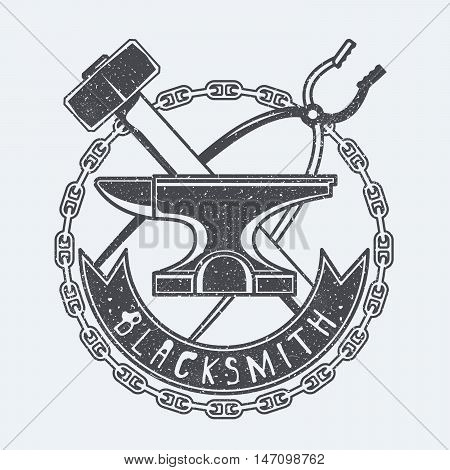 Blacksmith tools black and white vector illustration
