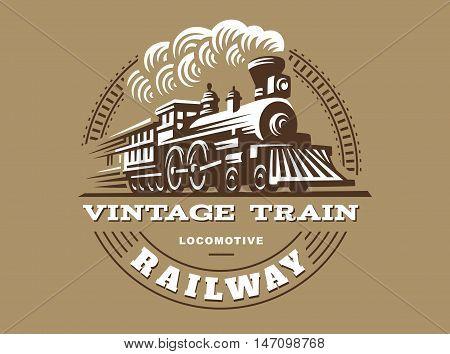 Locomotive logo illustration, vintage style emblem design