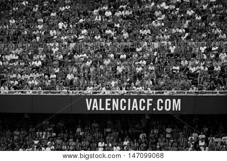 VALENCIA, SPAIN - SEPTEMBER 11th: Valencia supporters during Spanish League match between Valencia CF and Real Betis at Mestalla Stadium on September 11, 2016 in Valencia, Spain