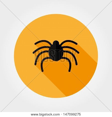 Spider. Halloween. Icon for web and mobile application. Vector illustration on a button with a long shadow. Flat design style.