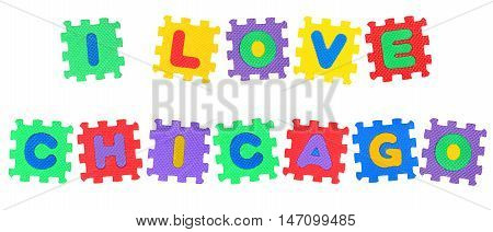 Message I Love Chicago from letters puzzle isolated on white background.