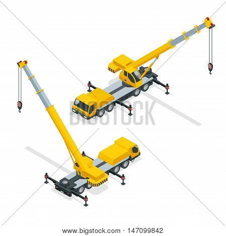 Detailed illustration of crane, heavy equipment and machinery
