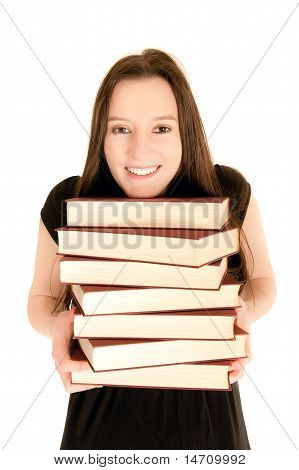 Young Student With A Pile Of Books