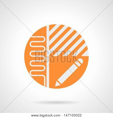Abstract white sign of heated floor project. Manual installation of underfloor heating. Apartment plan with pipeline, linoleum or laminate flooring and pencil. Orange round flat style vector icon.