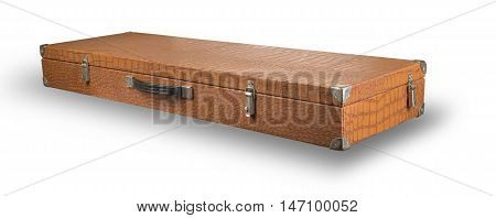 old suitcase from crocodile skin isolated on white background