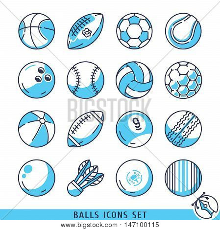 Balls icons set vector lines illustration eps