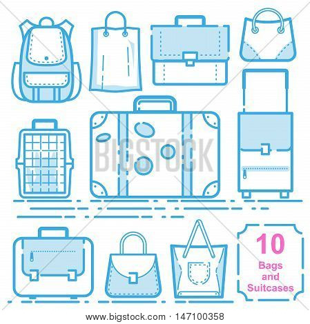 Bags and suitcases set vector illustration eps