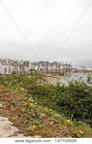 The port of Douarnenez seen since the trail Plomarc'h by a bad weather day (Brittany Finistere France)
