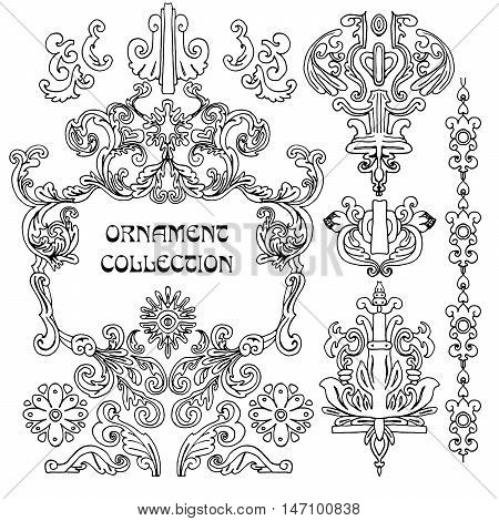 Hand drawn design elements and page decoration vintage classic frame collection with flowers and leaves