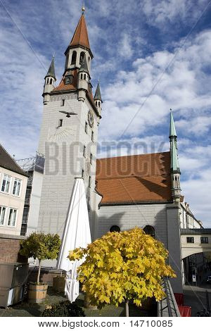 Clock Tower In Munich