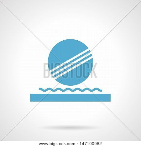 Abstract symbol of ball floating on waves. Decoration of fountain and pond, modern architecture and landscaping elements. Symbolic blue glyph style vector icon.