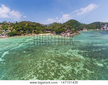 Aerial view of the beach with shallows Koh Tao, Thailand