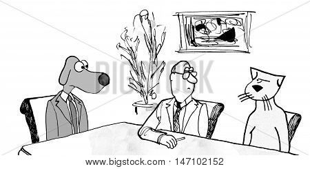 B&W business illustration of business cat leerily looking at business dog in a meeting.