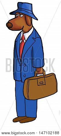 Color business illustration showing a business dog dressed in a business suit and carrying a briefcase.