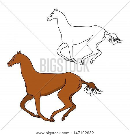 The gallop of the horse outline and color pattern vector illustration on white background