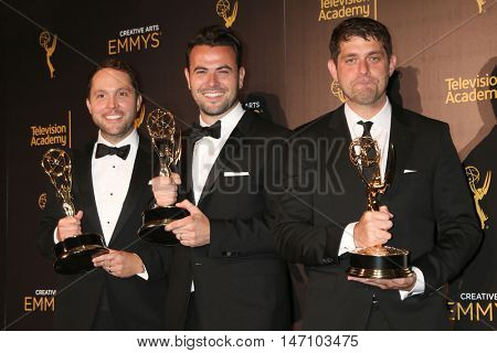 LOS ANGELES - SEP 11:  Rob Crabbe, Ben Winston, Adam Abramson at the 2016 Primetime Creative Emmy Awards - Day 2 - Press Room at the Microsoft Theater on September 11, 2016 in Los Angeles, CA