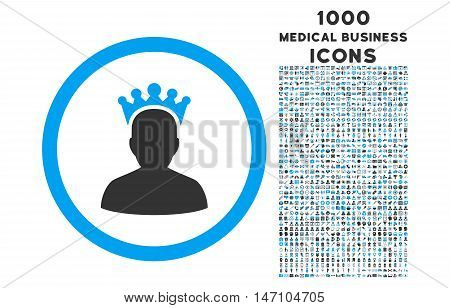 King rounded glyph bicolor icon with 1000 medical business icons. Set style is flat pictograms, blue and gray colors, white background.