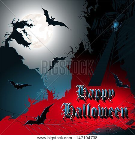 Halloween background with bats moon and spider. Vector illustration.