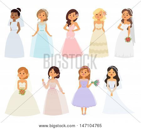 Bride girl in white dress isolated on white. Bride girl model bridal pretty glamour romantic lady. Woman wearing wedding white dress fashion girl luxury young person character vector.