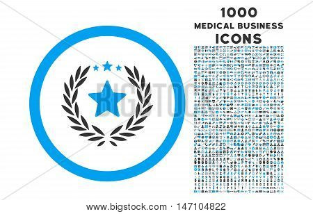 Proud Emblem rounded glyph bicolor icon with 1000 medical business icons. Set style is flat pictograms, blue and gray colors, white background.