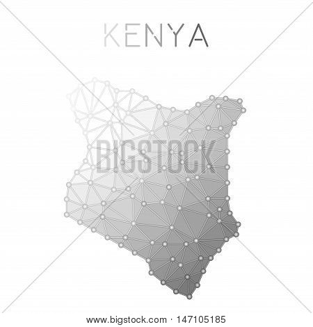 Kenya Polygonal Vector Map. Molecular Structure Country Map Design. Network Connections Polygonal Ke