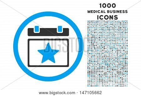 Favourites Day rounded glyph bicolor icon with 1000 medical business icons. Set style is flat pictograms, blue and gray colors, white background.
