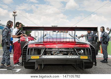 Vallelunga, Rome, Italy. September 10Th 2016. Audi R8 On Starting Grid Before Race