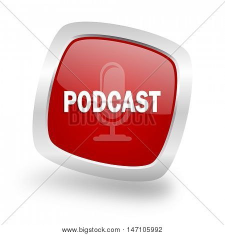 podcast square glossy red chrome silver metallic web icon
