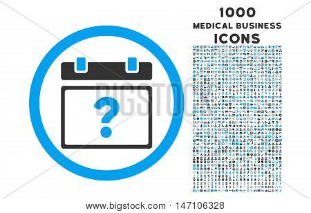 Unknown Date rounded glyph bicolor icon with 1000 medical business icons. Set style is flat pictograms, blue and gray colors, white background.