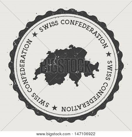 Switzerland Hipster Round Rubber Stamp With Country Map. Vintage Passport Stamp With Circular Text A
