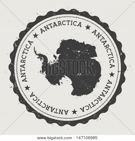 Antarctica Hipster Round Rubber Stamp With Country Map. Vintage Passport Stamp With Circular Text An