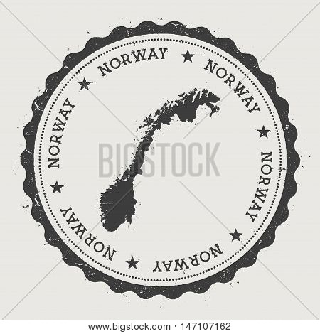 Norway Hipster Round Rubber Stamp With Country Map. Vintage Passport Stamp With Circular Text And St