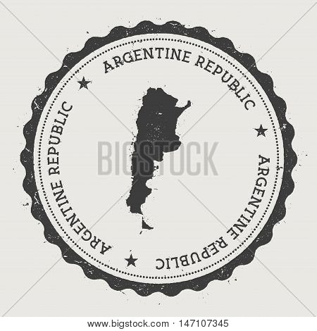 Argentina Hipster Round Rubber Stamp With Country Map. Vintage Passport Stamp With Circular Text And