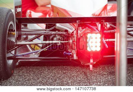 Vallelunga, Rome, Italy. September 10Th 2016. Formula 4 Championship, Rear Spoiler And Red Light