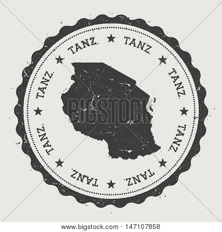 Tanzania, United Republic Of Hipster Round Rubber Stamp With Country Map. Vintage Passport Stamp Wit